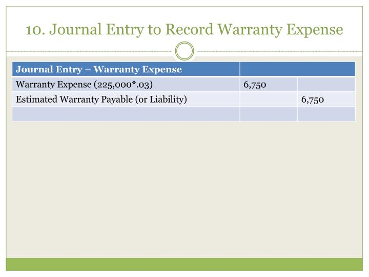 10. Journal Entry to Record Warranty Expense
