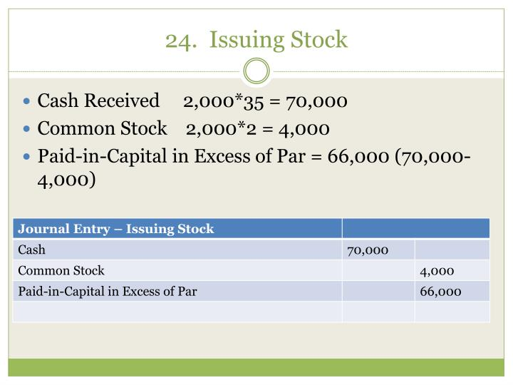 24.  Issuing Stock