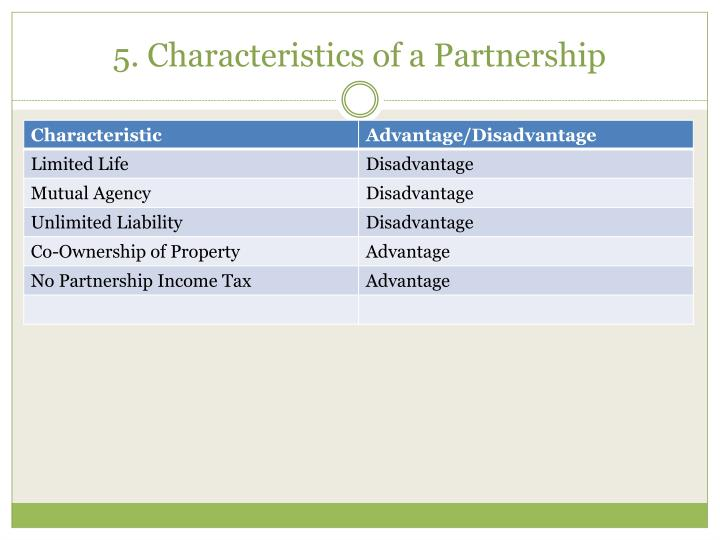 5. Characteristics of a Partnership
