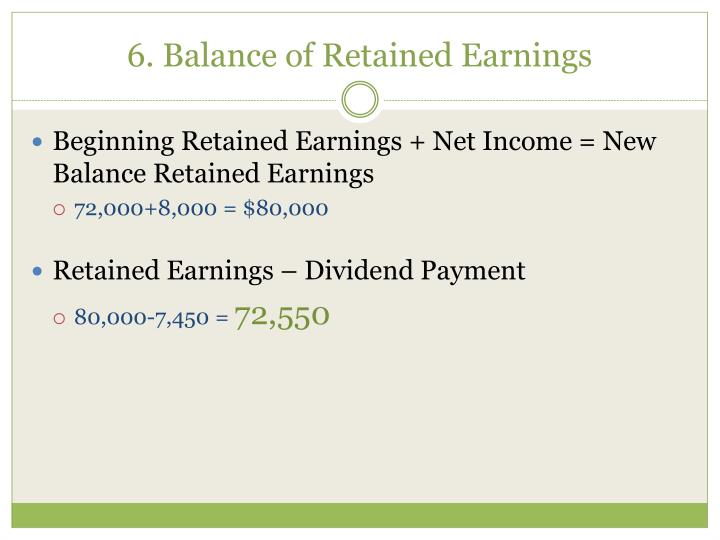 6. Balance of Retained Earnings