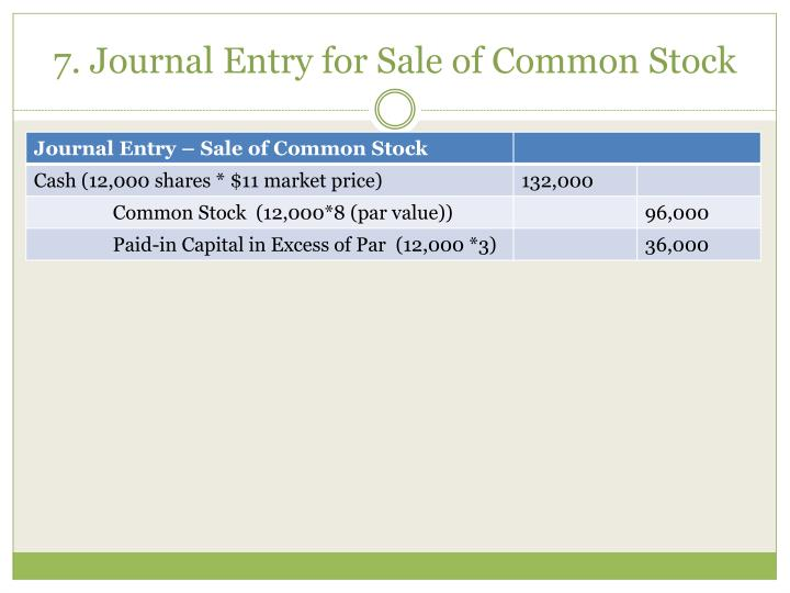 7. Journal Entry for Sale of Common Stock