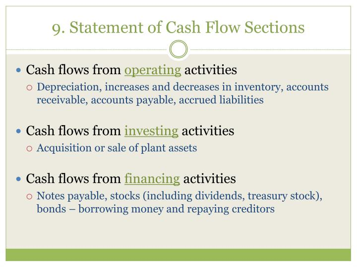 9. Statement of Cash Flow Sections