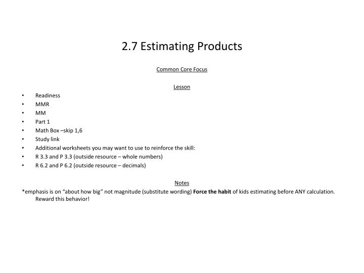 2.7 Estimating Products