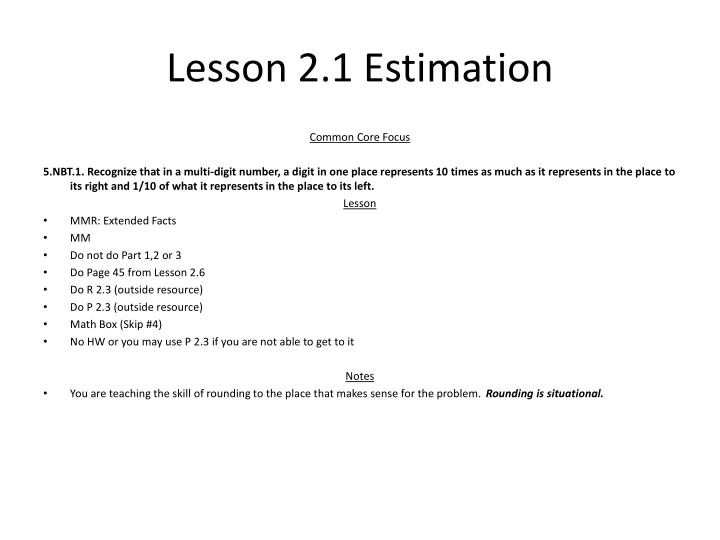Lesson 2 1 estimation