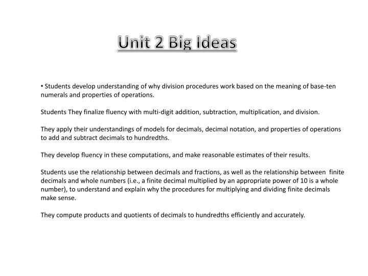 Unit 2 Big Ideas