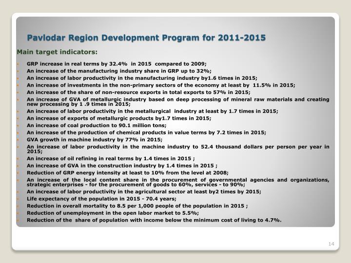 Main target indicators: