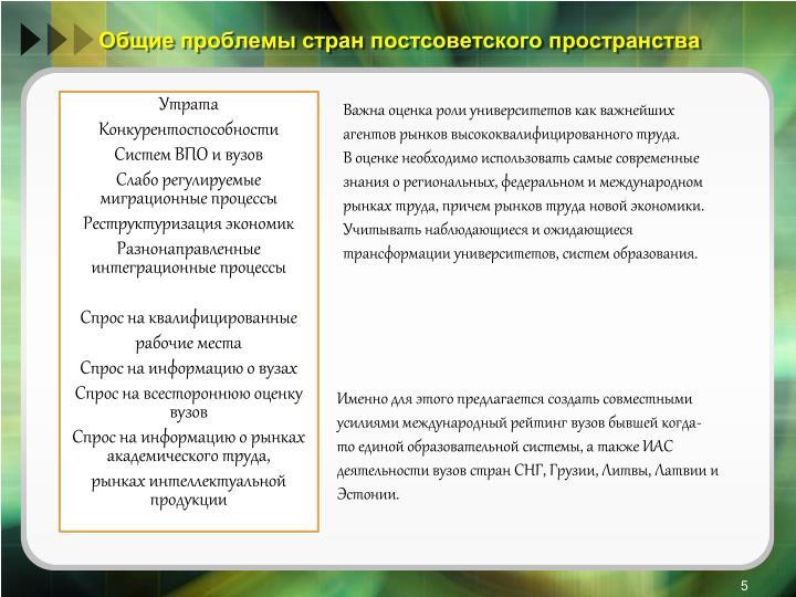 Общие проблемы стран постсоветского пространства