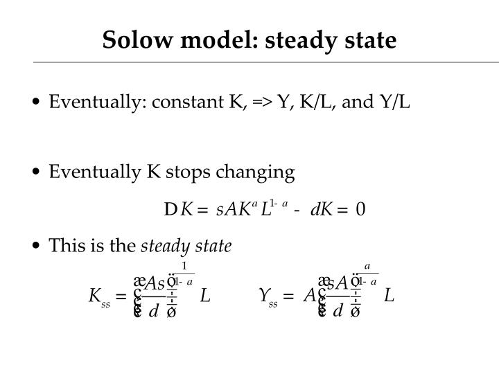 Solow model: steady state