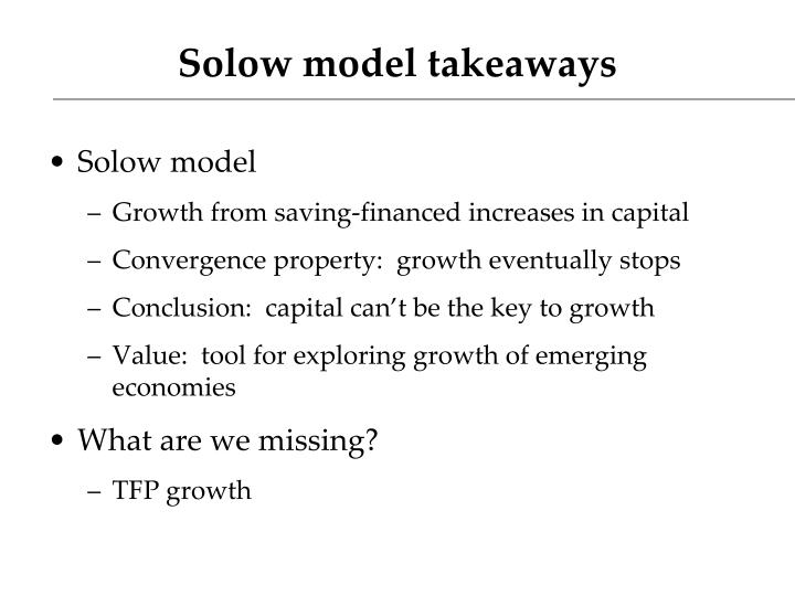 Solow model takeaways