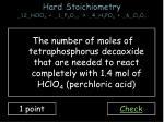 hard stoichiometry 12 hclo 4 1 p 4 o 10 4 h 3 po 4 6 cl 2 o 7