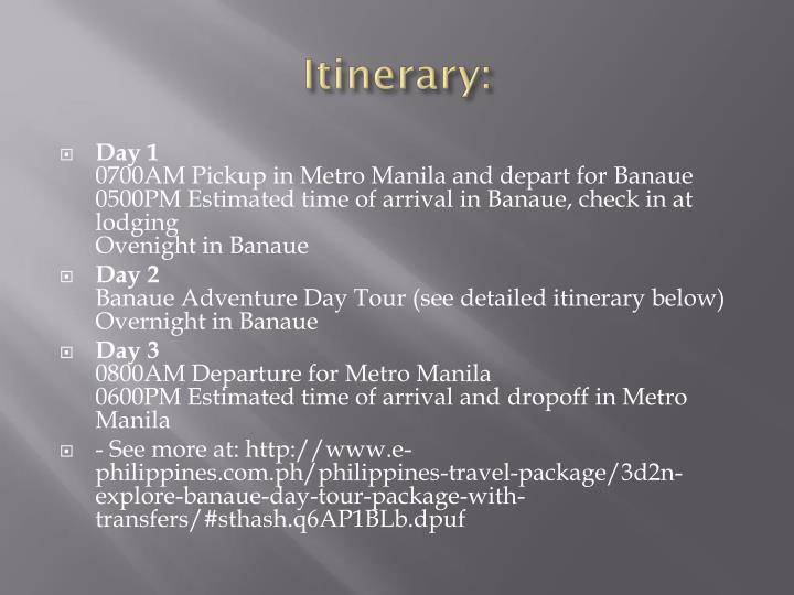 Itinerary: