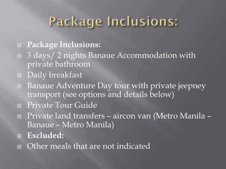 Package Inclusions: