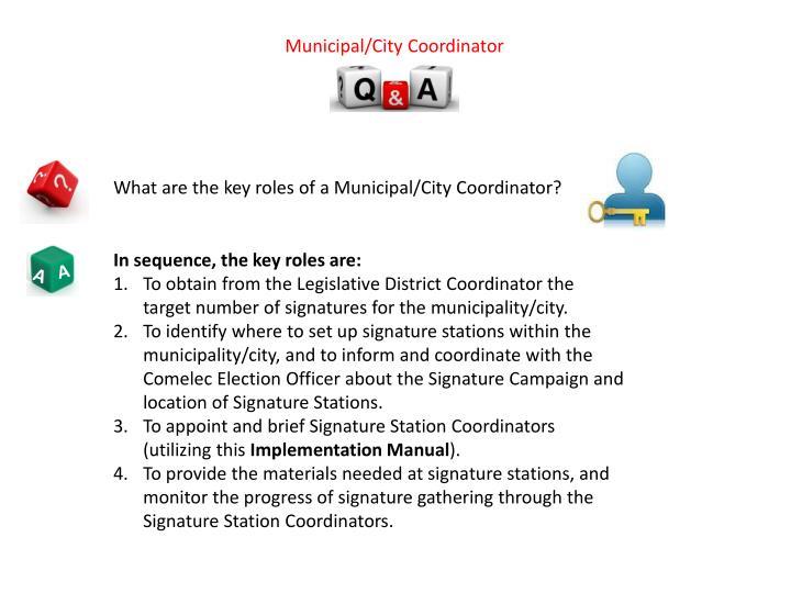 Municipal/City Coordinator