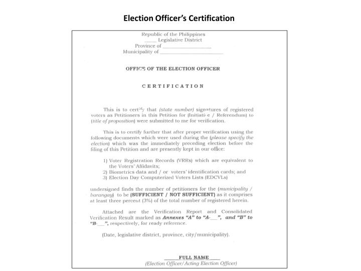 Election Officer's Certification