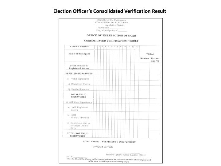 Election Officer's Consolidated Verification Result