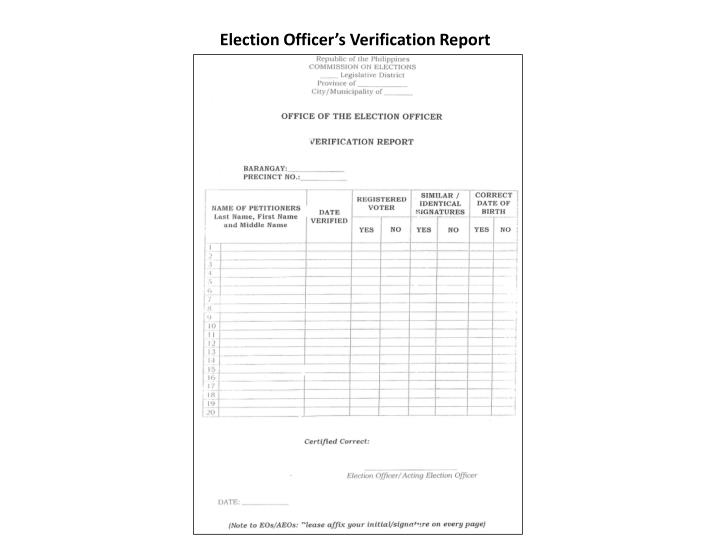 Election Officer's Verification Report
