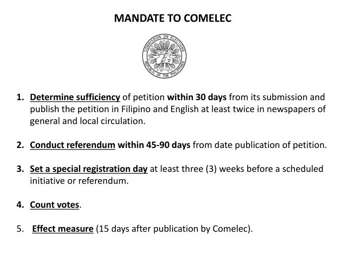 MANDATE TO COMELEC