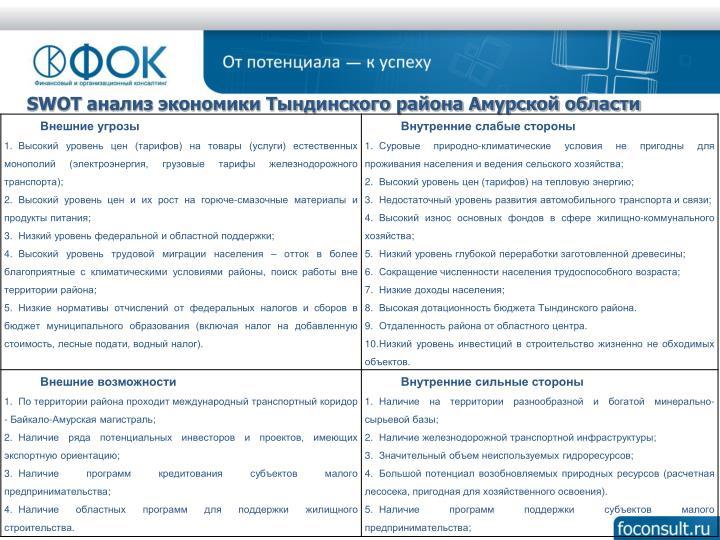 SWOT анализ экономики Тындинского района Амурской области