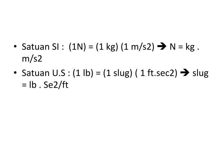 Satuan SI :  (1N) = (1 kg) (1 m/s2)