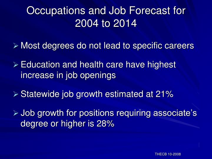 Occupations and Job Forecast for