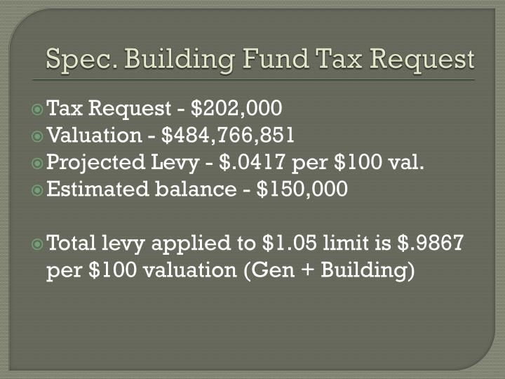 Spec. Building Fund Tax Request