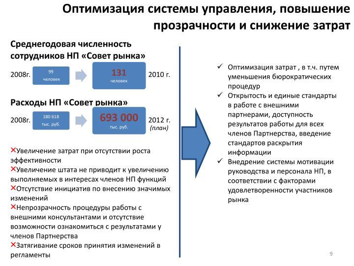 Оптимизация системы управления, повышение прозрачности и снижение затрат