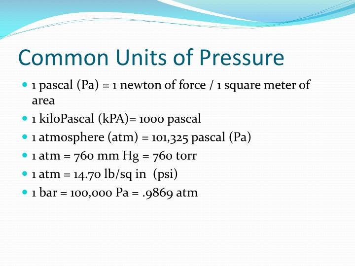 Common Units of Pressure