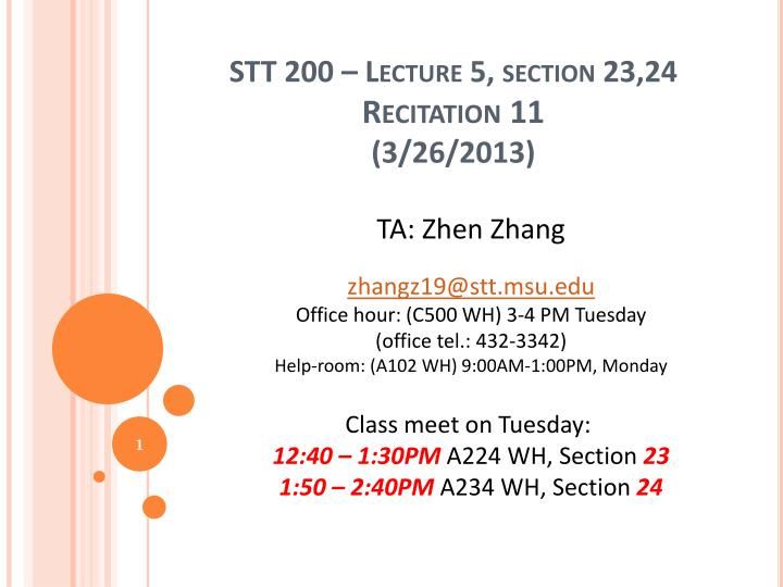 Stt 200 lecture 5 section 23 24 recitation 11 3 26 2013