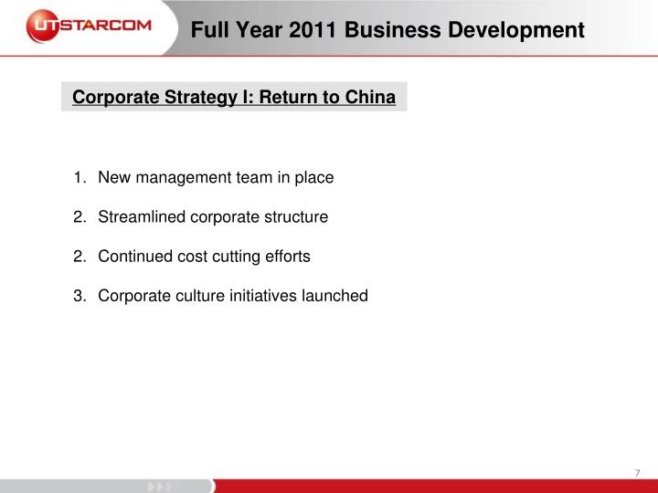 Full Year 2011 Business Development
