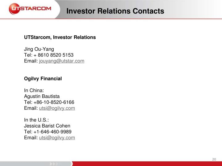 Investor Relations Contacts