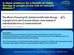 is there evidence for a benefit of statin therapy in people at low risk of vascular disease