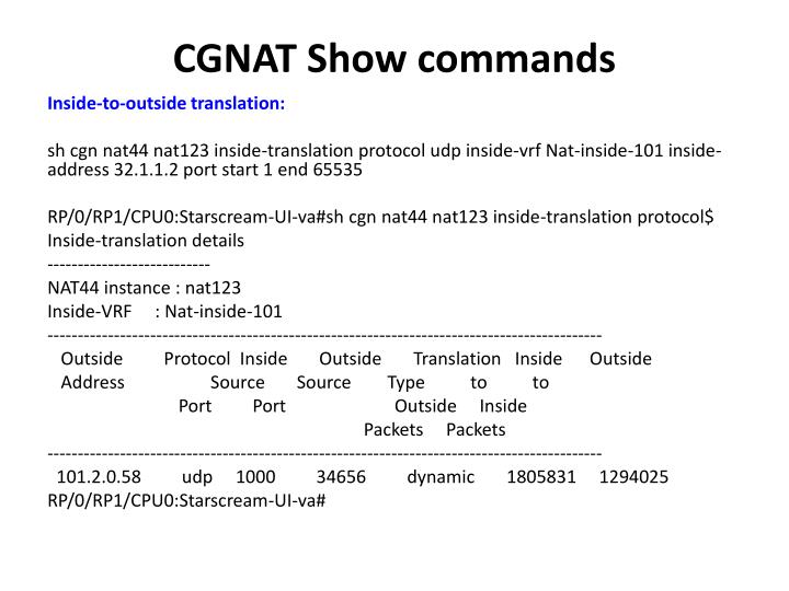 CGNAT Show commands