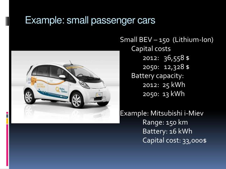 Example: small passenger cars