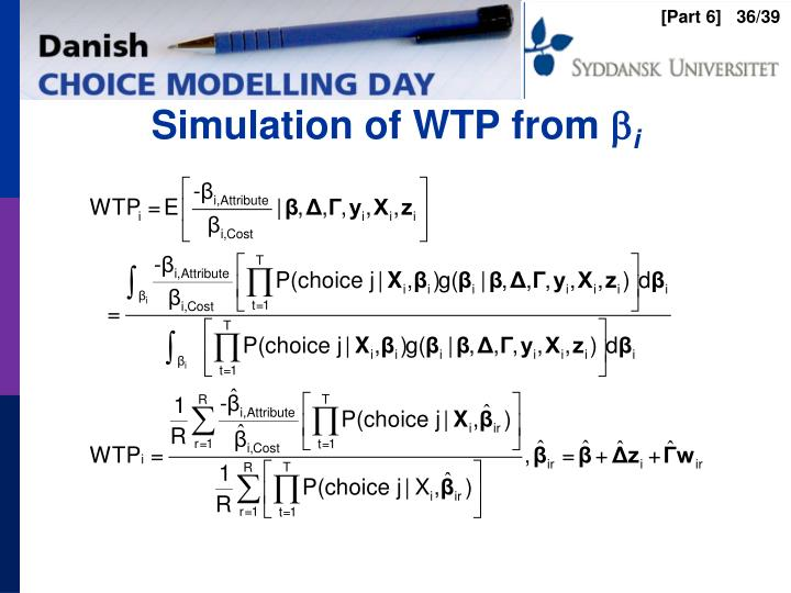Simulation of WTP from