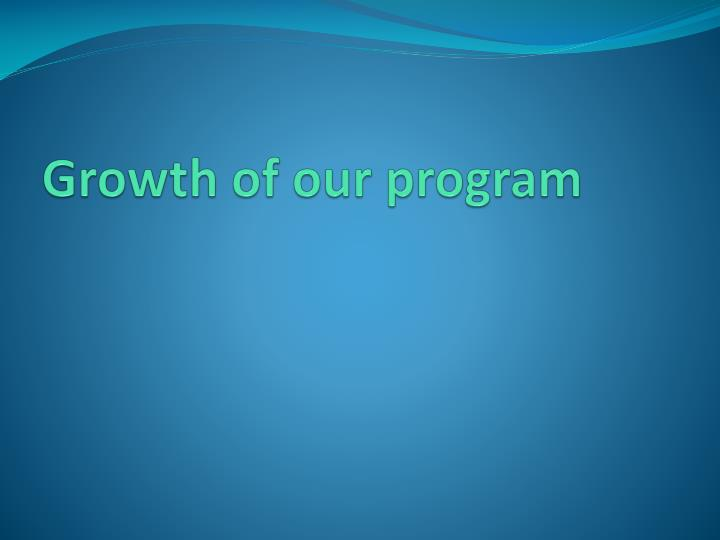 Growth of our program