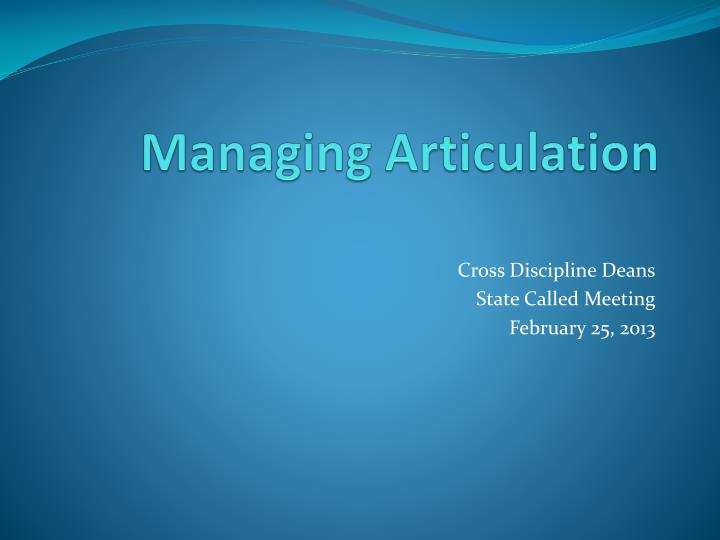 Managing articulation