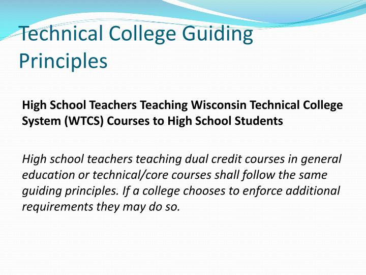 Technical College Guiding Principles