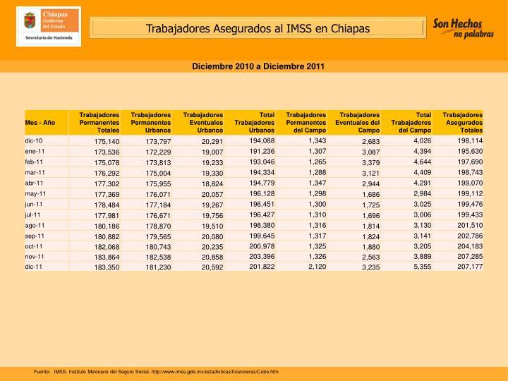 Trabajadores Asegurados al IMSS en Chiapas
