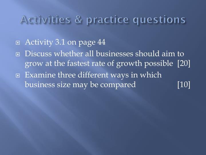 Activities & practice questions