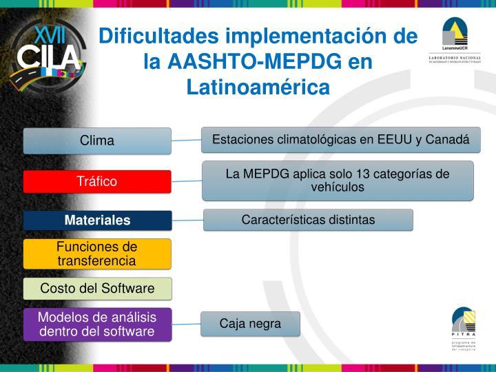 Dificultades implementación de la AASHTO-MEPDG en Latinoamérica