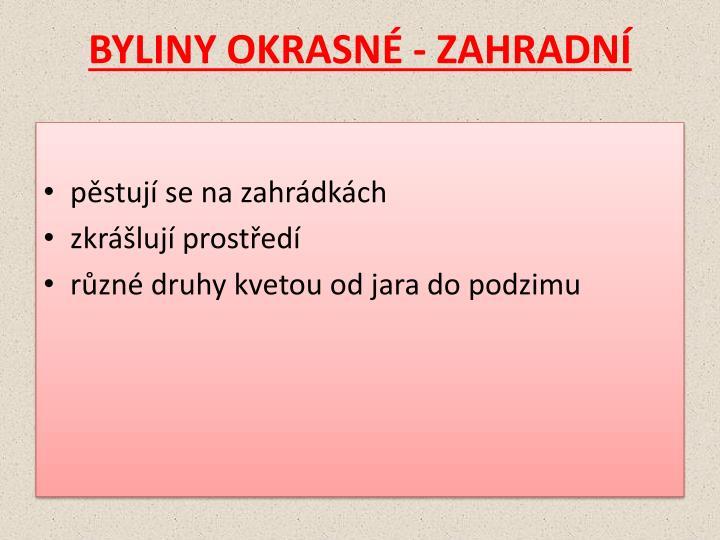 BYLINY OKRASNÉ - ZAHRADNÍ