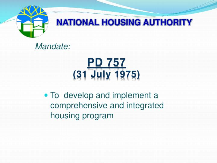 NATIONAL HOUSING AUTHORITY