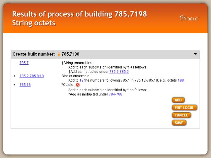 Results of process of building 785.7198