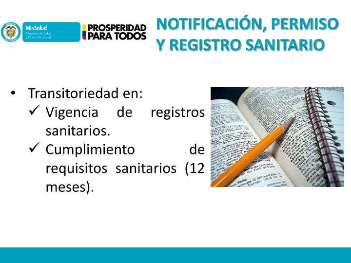 NOTIFICACIÓN, PERMISO Y REGISTRO SANITARIO