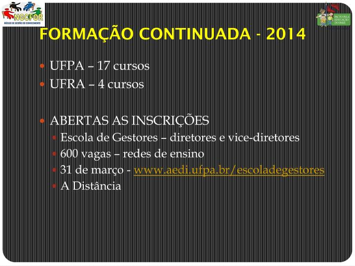 FORMAO CONTINUADA - 2014
