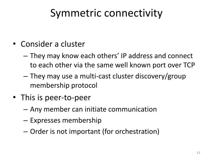 Symmetric connectivity