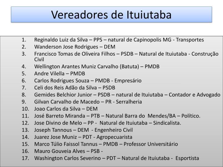 Vereadores de Ituiutaba