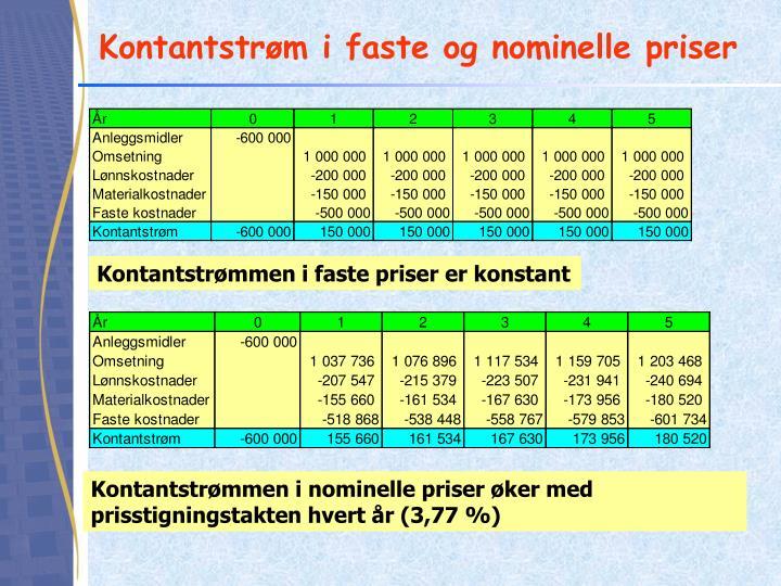 Kontantstrøm i faste og nominelle priser
