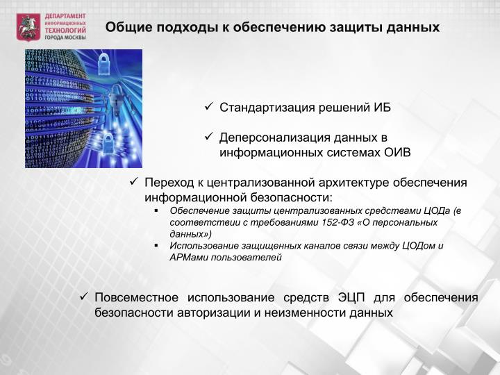Общие подходы к обеспечению защиты данных