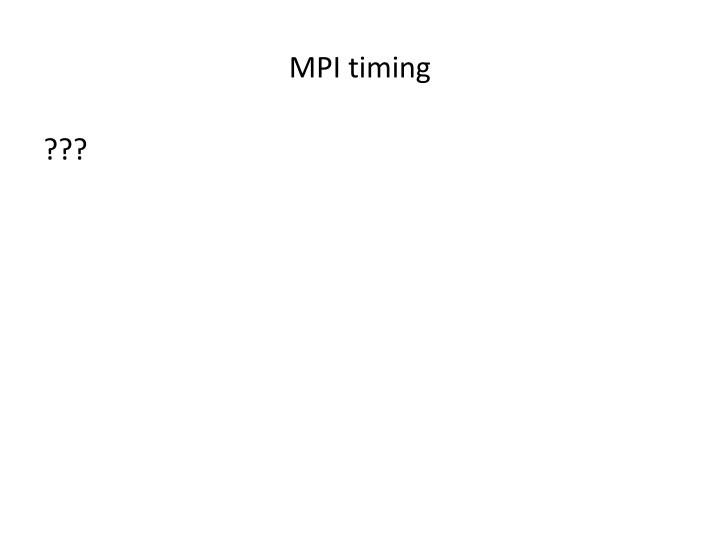 MPI timing
